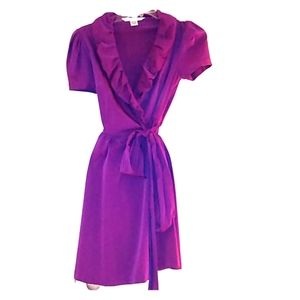 DVF purple, wrap ruffle collar, dress ,full skirt